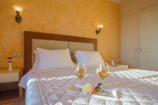Cheap Corfu rooms with sea view Philoxenia Hotel Standard Double Room with big bed and welcome drink