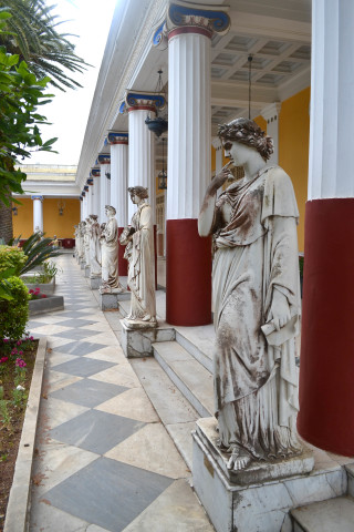 Corfu sightseeing Philoxenia hotel marble statue in the entrance of the Achillion palace