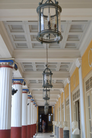 Corfu sightseeing Philoxenia hotel Achillion palace corridor built in Neoclassical style