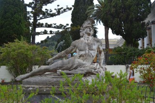 Corfu sightseeing Philoxenia hotel a marble statue near the palace Achillion