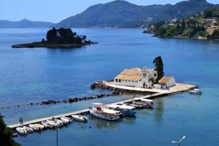 Corfu sightseeing Philoxenia hotel Vlacherna Monastery near Pontikonissi Islet