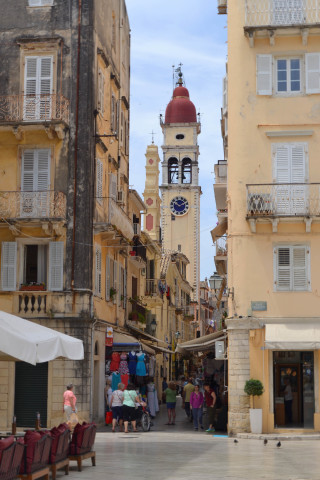 Corfu sightseeing Philoxenia hotel the clock of Saint Spyridon Greek Orthodox Church in Town