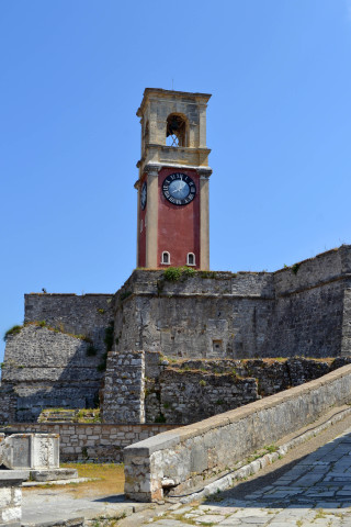 Corfu sightseeing Philoxenia hotel the clock tower by the Old Fortress