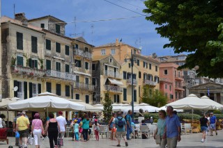 Corfu sightseeing Philoxenia hotel town area is full of cafeterias, shops and unique buildings