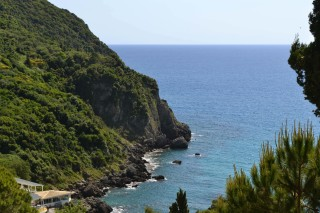 Ermones Corfu Philoxenia hotel greek sea Ermones rocky beach has calm blue waters