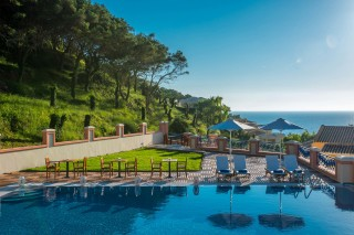 Gallery Corfu Hotel Philoxenia Swimming Pool Facilities include sunbeds, umbrellas, sea view, mountain view and pool towels