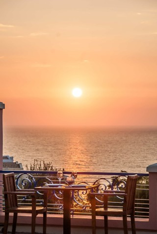 Gallery Corfu Hotel Philoxenia enchanting sunset view from the pool bar restaurant