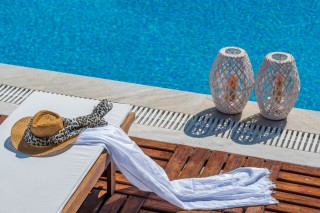 Gallery Corfu Hotel Philoxenia Swimming Pool Area has pool towels, pool sunbeds and wonderful decoration