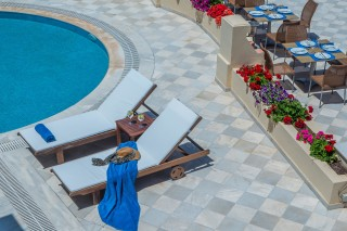 Gallery Corfu Hotel Philoxenia Swimming Pool Bar Restaurant with sunbeds, umbrellas and much more