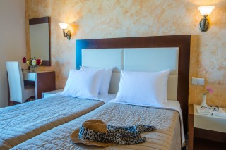 ideal seaside corfu accommodation philoxenia hotel beautiful room with two single beds and unique decoration