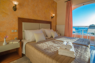 ideal seaside corfu accommodation philoxenia hotel double room with amazing Ionian Sea view