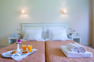 ideal seaside corfu accommodation philoxenia hotel room breakfast service in your double bedroom