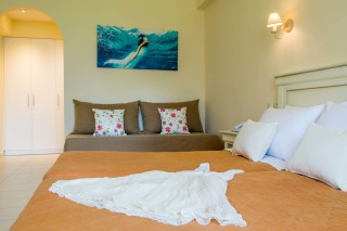 ideal seaside corfu accommodation philoxenia hotel big bedroom with double bed and amazing decoration